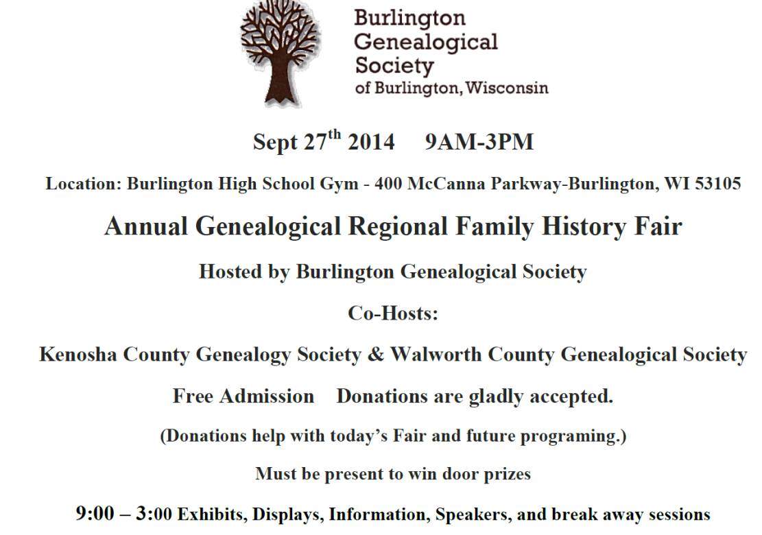 2014 Burlington WI Annual Regional Family History Fair