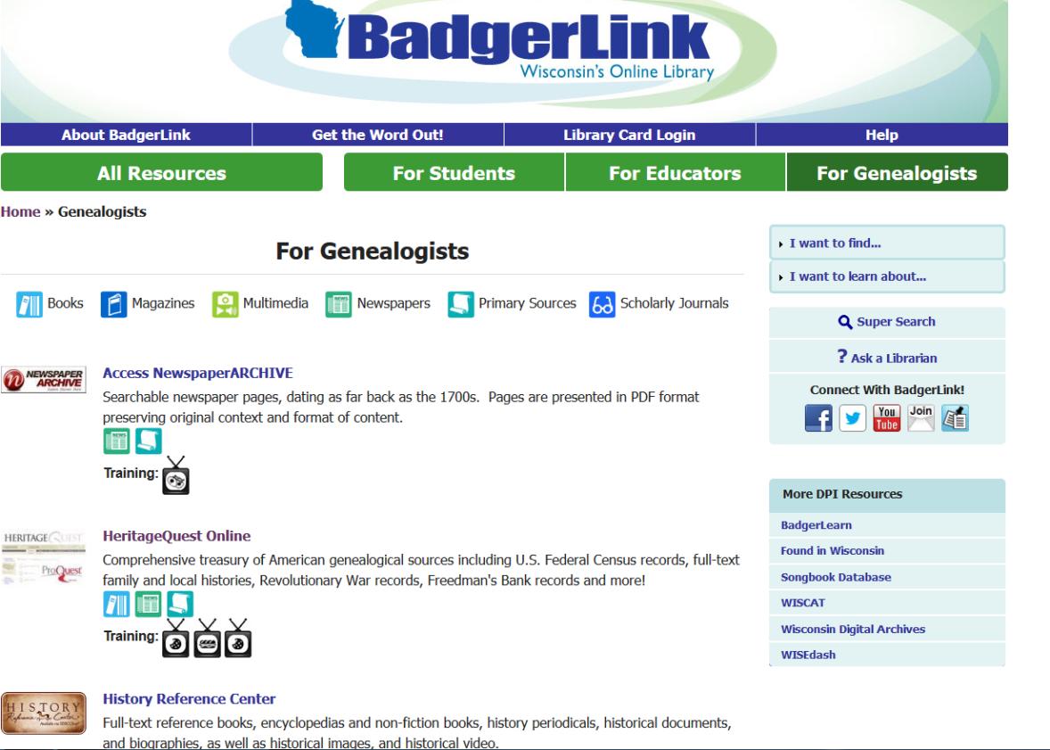 Badgerlink Heritage Quest
