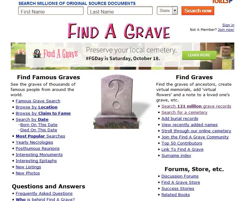 find a grave | statelinegenealogyclub